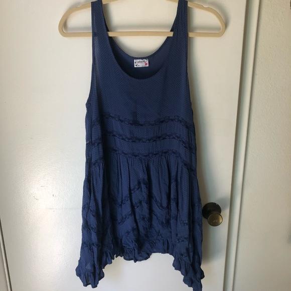 Free People Dresses & Skirts - Free People Blue Trapeze Slip